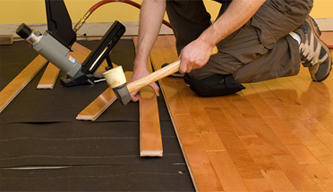 Quality workmanship of hardwood floor installations by professional installers at Giese Carpet