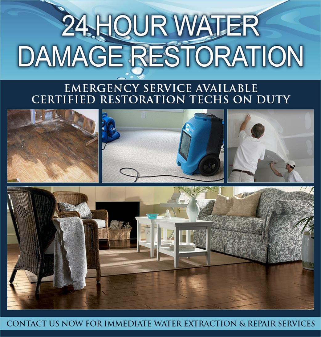 24 hour water damage restoration emergency service available by Certified Restoration Technicians - Contact Giese Carpet for immediate water extraction & repair services